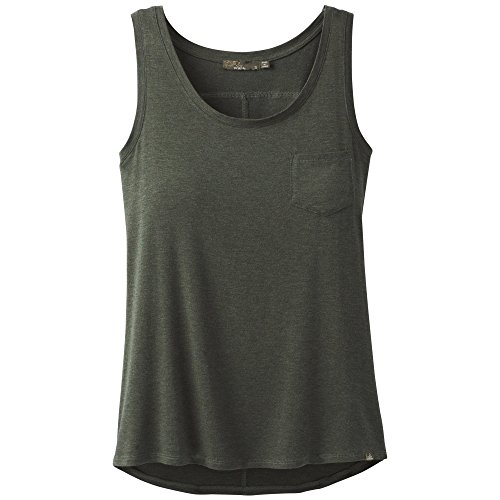 (PRANA Foundation Scoop Neck Tank, Forest Green Heather, Medium)