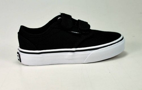 Vans Kids Atwood Canvas Strap Fasten Shoes Black White Size 11.5 (Vans Strap Shoes)