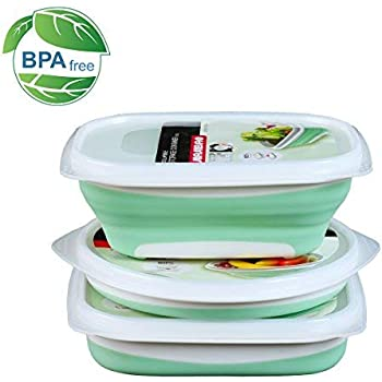 Amazoncom Leakproof Bpa Free Silicone Collapsible Food