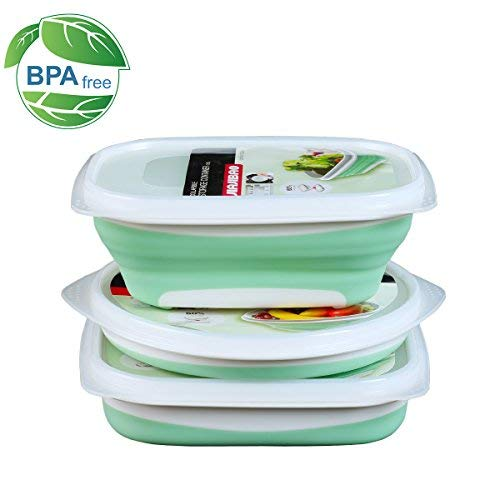 Collapsible Food Storage Containers leakproof for Kitchen - Space Saving - FDA Approved and BPA Free fresh box for travel, 3 Pack with Square+Round+Rectangle Insulated Lunch Containers - Medium ()