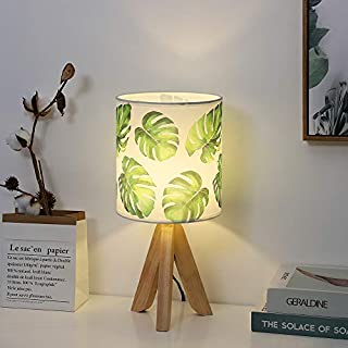 HAITRAL Small Table Lamp - Tripod Nightstand Lamp, Modern Bedside Desk Lamp for Kids Room, Girls Room, Bedroom, Dorm Room, Office with Wooden Base Fabric Lamp Shade