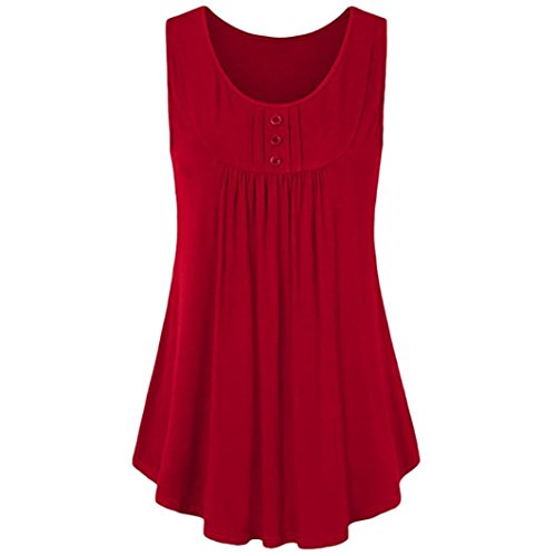TATGB Womens Summer Button Sleeveless Neck Shirts Pleats Solid Tunic Tank Tops