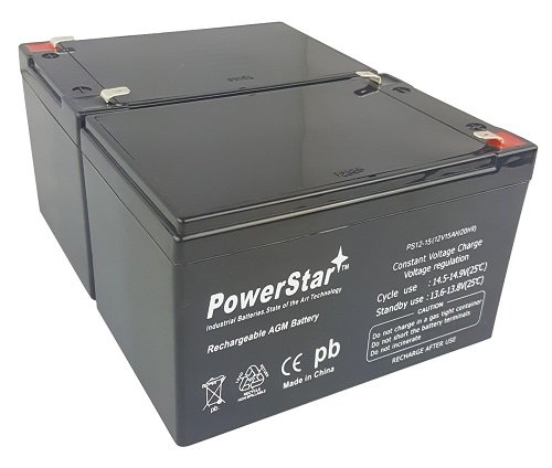 PowerStar Batteries for Pride Mobility Go Go Scooter / 12v 15ah by PowerStar