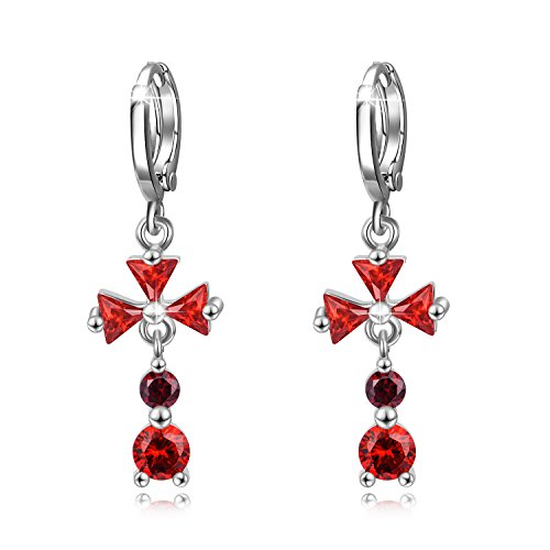 WINNICACA Red Cubic Zirconia Cross Dangle Drop Hoop Earrings Lever-back Earrings for Women - Leverback Earrings Cross