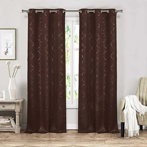 - Duck River Textiles - Home Fashion Printed Metallic Geometric Blackout Room Darkening Grommet Top Window Curtains Pair Panel Drapes for Bedroom, Living Room - Set of 2 Panels - 37 X 84 Inch - Brown
