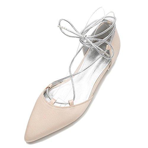 L@YC Chaussures de Mariage Pour Femmes 5047-22 Pointus Talons Bas Satin Bandages Fermés Orteils/Bal/Partie Champagne xu40yeN