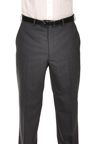 Ralph Lauren Charcoal Wool Dress Pants For Men Classic Flat Front Style Trousers - Pleats Wool Trousers