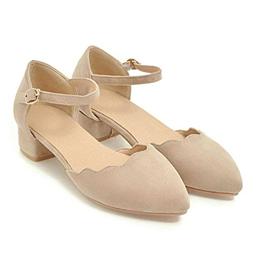 Toe Apricot Summer Closed Women Shoes TAOFFEN Spring wXqS8nf