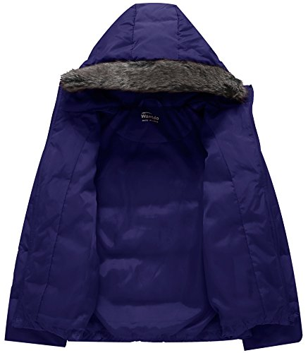 Wantdo Puffer Winter Girl's Navy Faux with Jacket Down Collar Hooded Coat Fur Lightweight rxXrA5qR