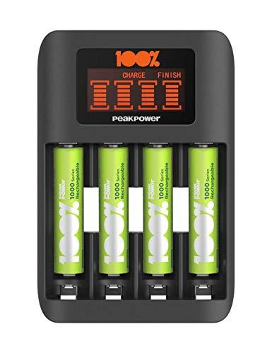 🥇 100% PeakPower Cargador de Pilas AAA y AA Super Rapido – Incluye 4 Pilas Recargables AAA de 800 mAh | Precargadas Listas para Usar | Indicador de Carga LED