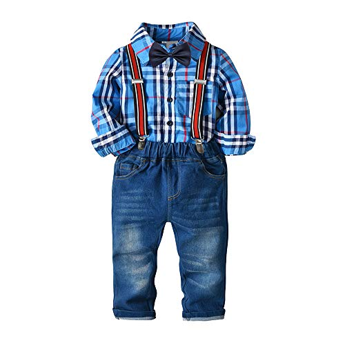 Nwada Little Boys Clothes Sets Bow Ties Shirts + Suspenders Pants Denim Jeans Toddler Boy Gentleman Outfits Suits Blue 4-5 Years -