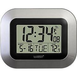 La Crosse Technology WT-8005U-S Atomic Digital Wall Clock with Indoor Temperature, Silver
