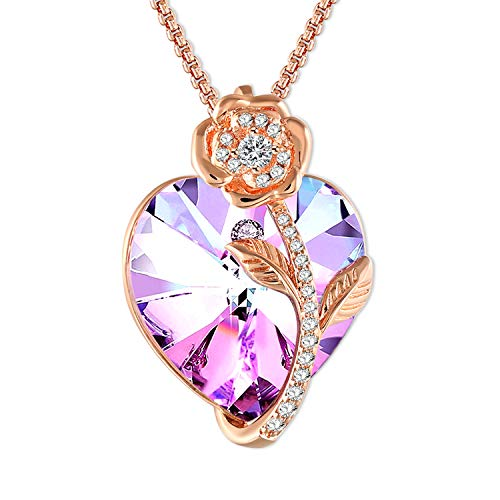 (SNZM Heart Necklace for Women Rose Gold Rose Pendant Crystal Necklace for Mother, Crystal from Swarovski)