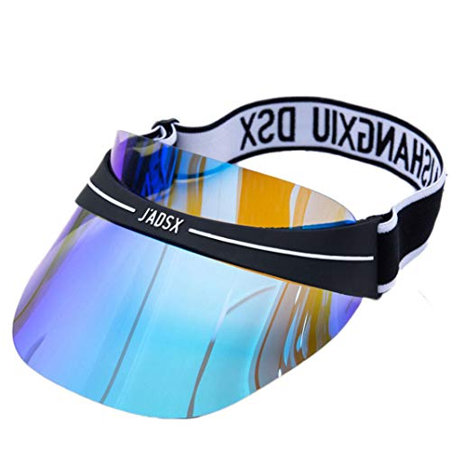 UV Protection Transparent Shield Visor Sun Hat Head Band Style Sunglasses Cap (Style 2-Blue, OneSize)