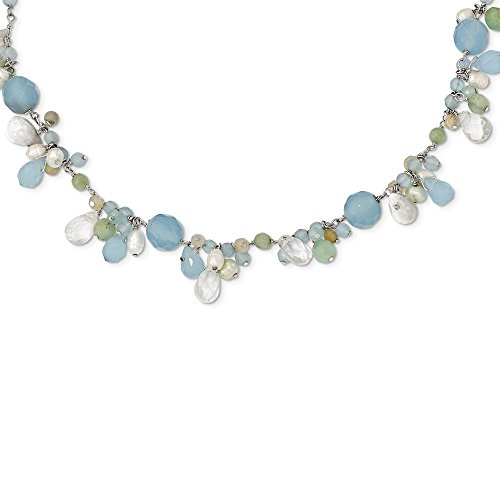 925 Sterling Silver Blue Topaz/crystal/opalite Crystal/amazonite/Freshwater Cultured Pearl Neck Necklace Pendant Charm Fine Jewelry Gifts For Women For Her ()