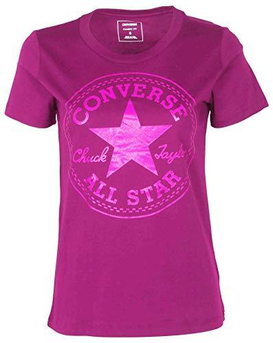 Converse Women's Glitter Chuck Taylor Core Patch T-Shirt-Magenta-Large