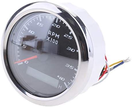 MagiDeal Waterproof IP67 Marine Tachometer Gauge LCD Tacho Hour Meter 9-32VDC 4000RPM 85mm