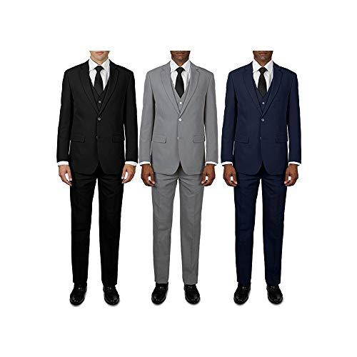 Unibasic Men Premium Edition Signature Classy Three-Piece Suit Set - 3 Pack (Black, Navy and L. Grey)