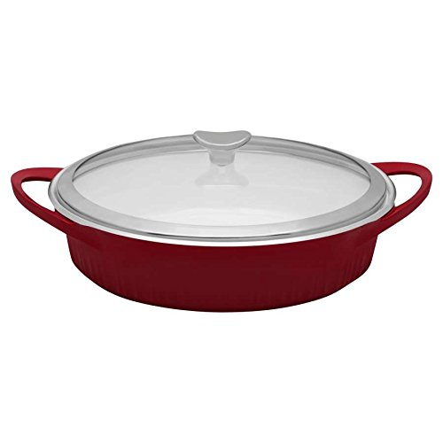 - CorningWare Cast Aluminum Dutch Oven Braiser with Dual Handles and Glass Cover, 4-Quart, Red