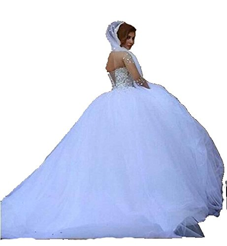 Wedding Angela Sheer Gorgeous Sleeves Ball Long Women's Gown Dresses Crystals White waT8qUa