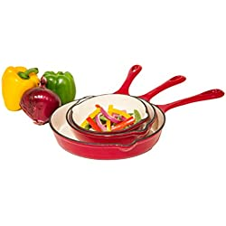 Heuck 33204 3-Piece Porcelain Enamel Cast Iron Skillet Set, Red