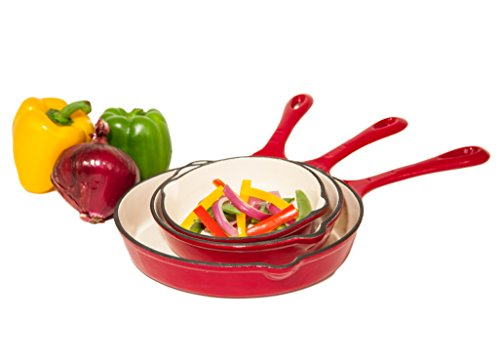 Iron Cookware Enameled (Grande Epicure Heuck 33204 3-Piece Porcelain Enamel Cast Iron Skillet Set, Red)