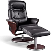 Artiva USA Milano Modern Bend Wood Leather Swivel Recliner with Ottoman, Black