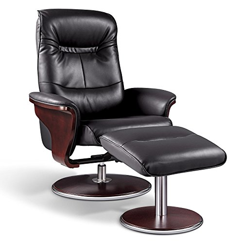 Artiva USA A05393BK Milano Modern Bend Wood Leather Swivel Recliner with Ottoman, Black