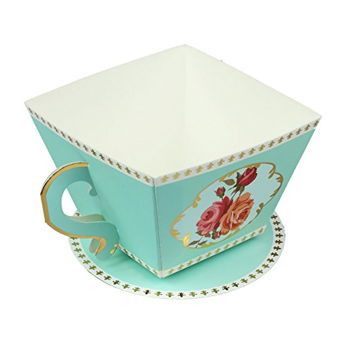 Vlovelife 12pcs Blue Cup Shape Party Favor Boxes Ribbon Tea Theme Decorations Candy Boxes Tea Time Whimsy Collection Creative Paper Candies Gift - Tea Saucer Shape