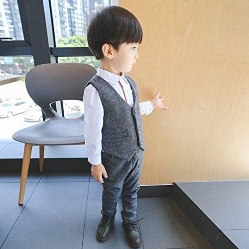 ALLAIBB ベビー服 フォーマルスーツ 男の子 紳士スーツ キッズ ベスト ロングパンツ 結婚式 発表会 こどもの日 記念着 size 120 (グレー)