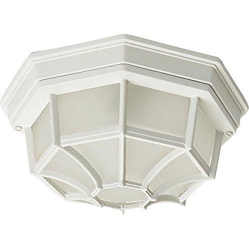 Maxim 1020WT Crown Hill 2-Light Outdoor Ceiling Mount, White Finish, Frosted Glass, MB Incandescent Incandescent Bulb , 60W Max., Dry Safety Rating, Standard Dimmable, Glass Shade Material, Rated Lumens ()