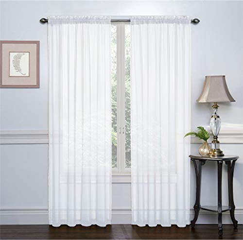 2 Pack: Ultra Luxurious High Thread Rod Pocket Sheer Voile Window Curtains by Victoria Classics - Assorted Colors -