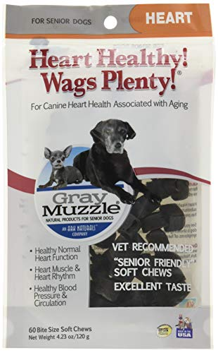 Ark Naturals Gray Muzzle Heart Healthy! Wags Plenty! Dog Chews, Vet Recommended for Senior Dogs to Support Heart Muscle, Blood Pressure and Circulation, Natural Ingredients, 60 Count