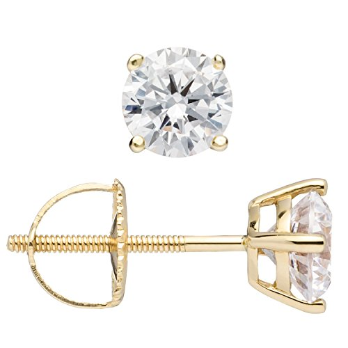 14K Solid Yellow Gold Round Cut Cubic Zirconia Stud Earrings, Screw Back Posts (1.0 ctw), Gift Box