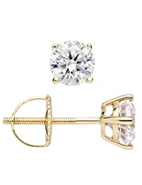 14K Solid White or Yellow Gold Round Cut Cubic Zirconia Stud Earrings, Screw Back Posts (1.0 ctw, Diamond Equivalent), Gift Box