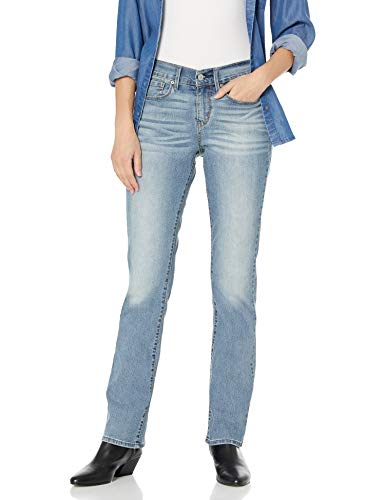 Signature by Levi Strauss & Co Women's Curvy Straight Jeans Pants, Blue Velvet, 18 Medium