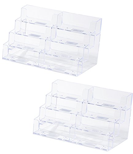 Business Card Holder for Desk - 2-Pack 8-Pocket Clear Plastic Business Card Display Stands for Office Desktop, Counter, 8 Compartments, 7.75 x 3.375 x 4 inches (Pocket Eight Desktop Plastic)