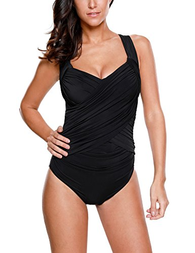 Women's Crossover Ruched One Piece Bathing Suit Swimsuit Black US 10