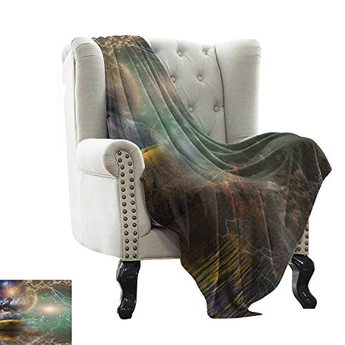Fantasy, Custom Design Cozy Flannel Blanket, Different Sky Celestial Events with an Eagle Thunderstorm Clouds and Outer Space Image, Lightweight Blanket Extra Big, (W90 x L90 Inch Multi