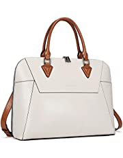 BOSTANTEN Briefcase for Women Leather 15.6 inch Laptop Shoulder Bags Office Work Crossbody Handbag Creamy-White
