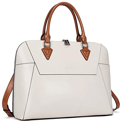 BOSTANTEN Briefcase for Women Leather 15.6 inch Laptop Shoulder Bags Office Work Crossbody Handbag Beige