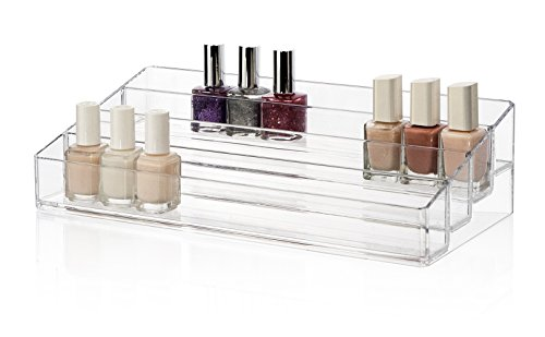 multi-level clear plastic nail polish organizer holds up to 40 bottles | bella collection