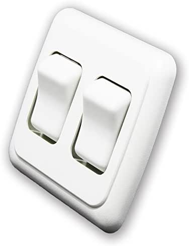 American Technology Components Double SPST On-Off Switch with Bezel, 12-Volt, for RV, Trailer, Camper (White)