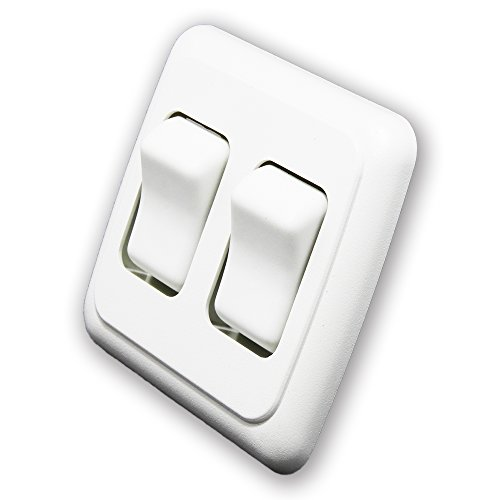 Double SPST On-Off Switch with Bezel, 12-Volt, for RV, Trailer, Camper (White)