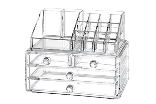 Drawer Acrylic Storage Chest - Clear Cosmetic Organizer Acrylic Lipstick Stand & Clear Jewelry Makeup Storage 4 Drawer Chest