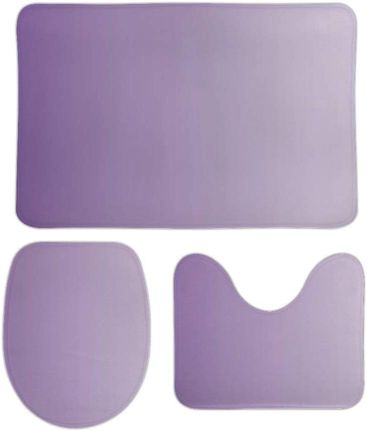 3pcs Girly Chic Minimalist Ombre Lilac Lavender Purple Bathroom Mat Set,U Shape Bathrooms Carpets Toilet Rugs Non-Slip Absorbent Bath Rugs Mats,Bathroom Accessories,Bathroom Decor