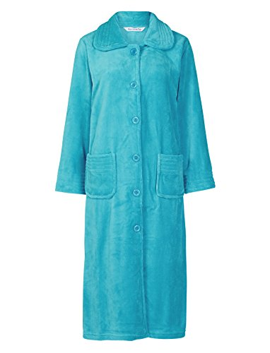Slenderella Ladies Button Up Soft Fleece Dressing Gown Luxury Bathrobe with Pockets Large ()