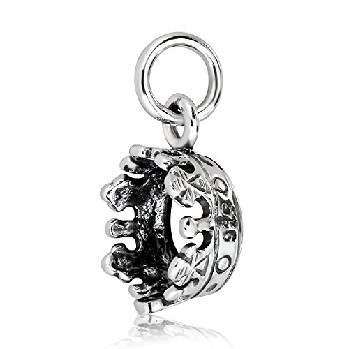 WithLoveSilver 925 Sterling Silver Tiny Imperial Queen King Crown Pendant