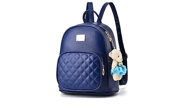 Color : Pink LIUFENGLONG Luc Ladies Mini Luc PU Leather Backpack Suck Shoulder Bag Handbag 3way Girls Cute Bear Charmed Commuter School Trip LIUFENGLONG