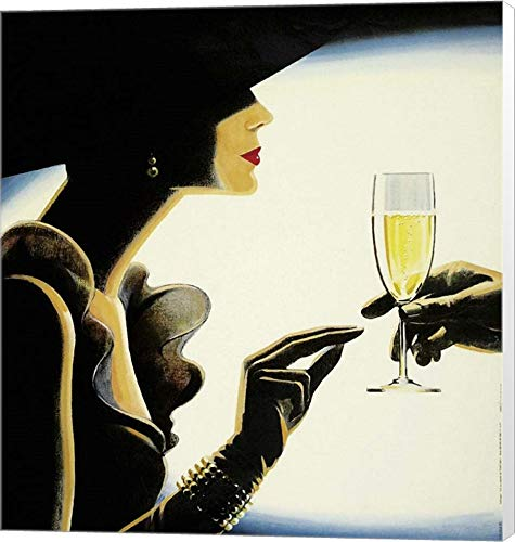 - Champagne by Vintage Lavoie Canvas Art Wall Picture, Museum Wrapped, 15 x 16 inches